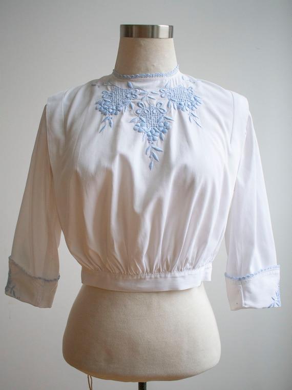Vintage Edwardian Blouse / White Cotton Embroider… - image 2