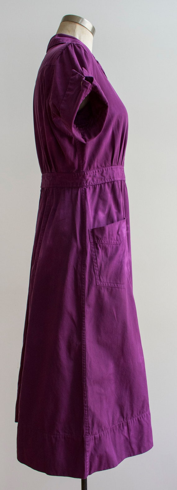 1960s Uniform Dress / Hand Dyed Purple Dress / Pu… - image 6