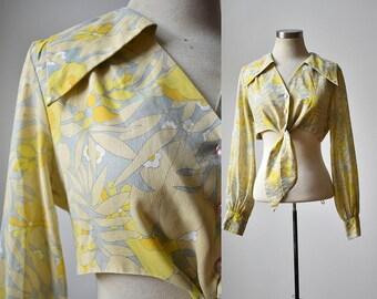 Vintage 1970s Crop Top / Floral Blouse / Tie Front Blouse / Yellow Floral Shirt / Yellow  Blouse / 1970s Blouse / Boho Blouse / Lady Arrow