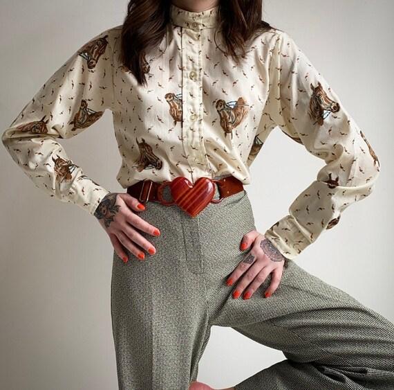 Vintage Equestrian Button Up Blouse
