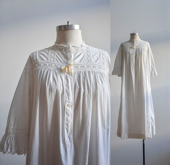 White Linen Edwardian Nightgown / White Cotton Ant