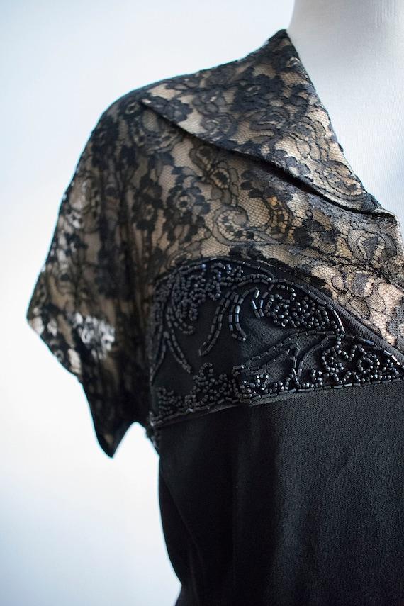 Vintage 1940s Black Cocktail Dress / Black Lace C… - image 9