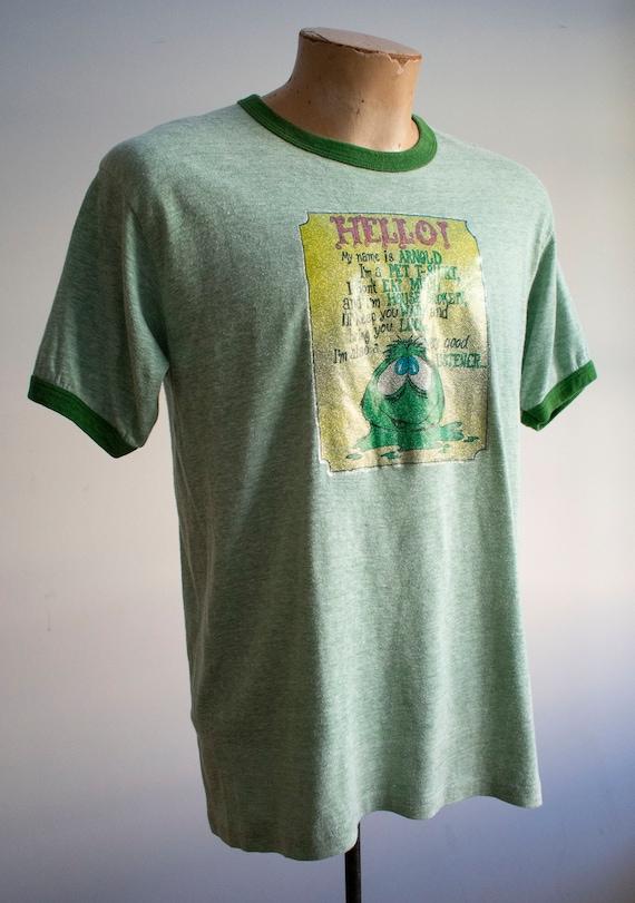 Vintage 1970s Ringer Tshirt / Green Ringer Tee / … - image 4