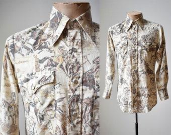 Vintage Western Shirt / 1970s Western Shirt / All Over Print Shirt / Native Americans / Southwestern / Pearl Snap Western Shirt / Buffalo