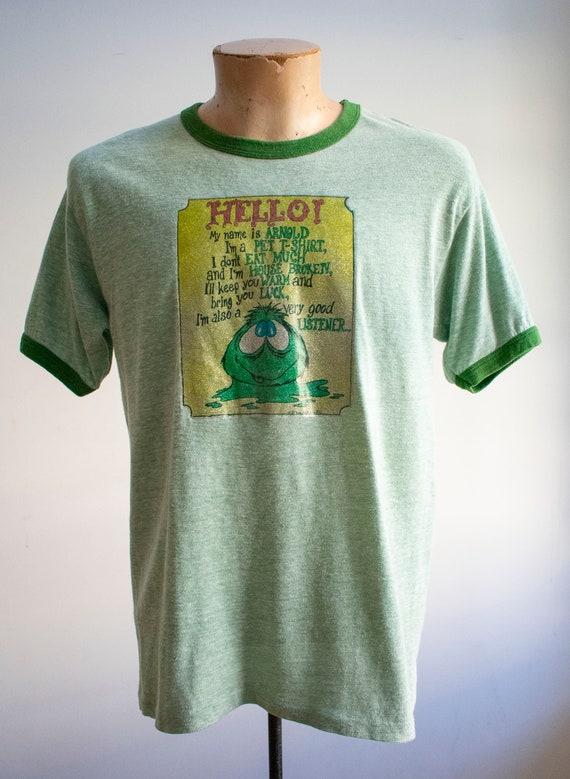 Vintage 1970s Ringer Tshirt / Green Ringer Tee / … - image 2