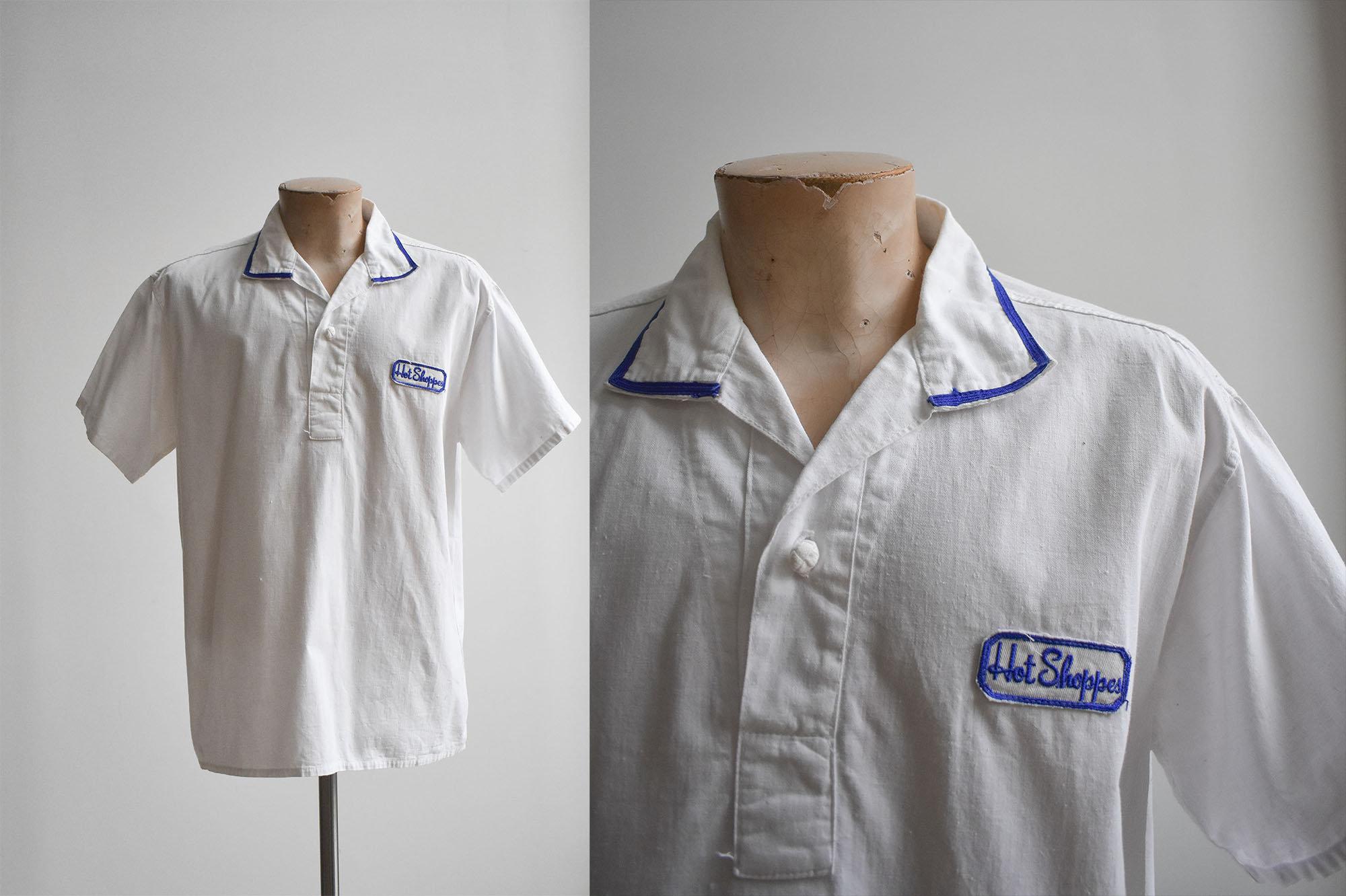 Vintage Aprons, Retro Aprons, Old Fashioned Aprons & Patterns Vintage Marriott Marquis Hot Shoppes Uniform Shirt $48.00 AT vintagedancer.com