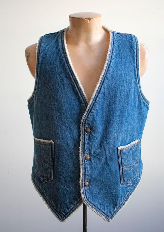 Vintage Denim Vest / Vintage 1970s Denim Vest / W… - image 2