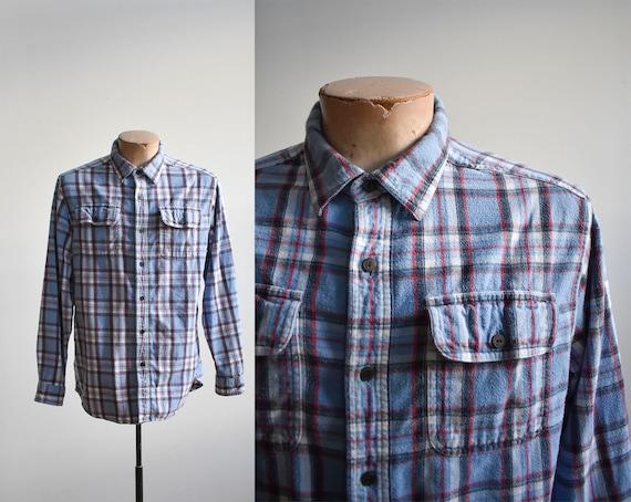 Vintage 1980s Plaid Flannel Shirt / Vintage Blue P