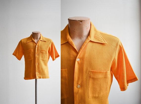 1960s Mesh Mustard Yellow Button Down Shirt - image 1