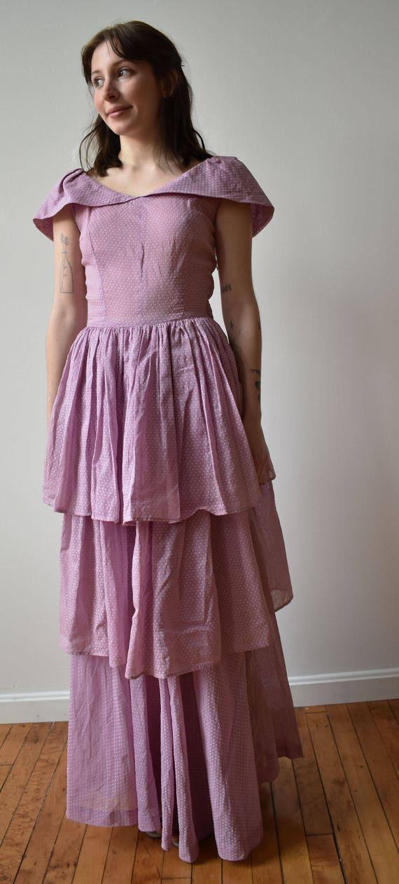 Vintage 1940s Gown / Purple Swiss Dot Gown / Polk… - image 7