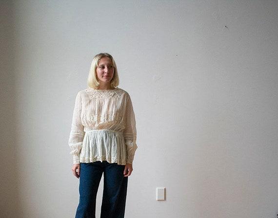 Edwardian Blouse / White Cotton Blouse / Lace Edwa