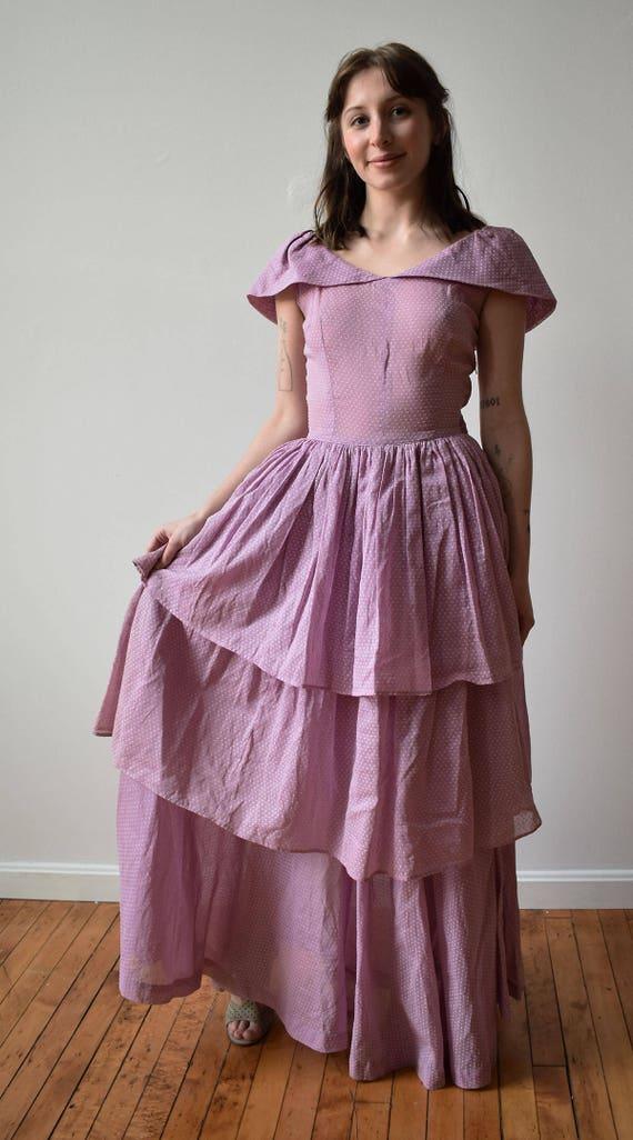 Vintage 1940s Gown / Purple Swiss Dot Gown / Polk… - image 3