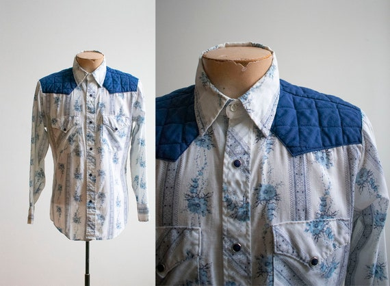 Vintage Western Shirt / Vintage Pearl Snap Button