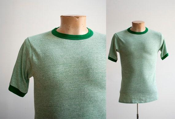 1970s Blank Ringer Tshirt / Vintage Green Ringer … - image 1