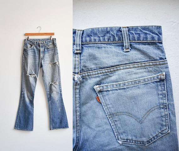 Vintage Levis Orange Tab Big E Bell Bottom Jeans - image 1