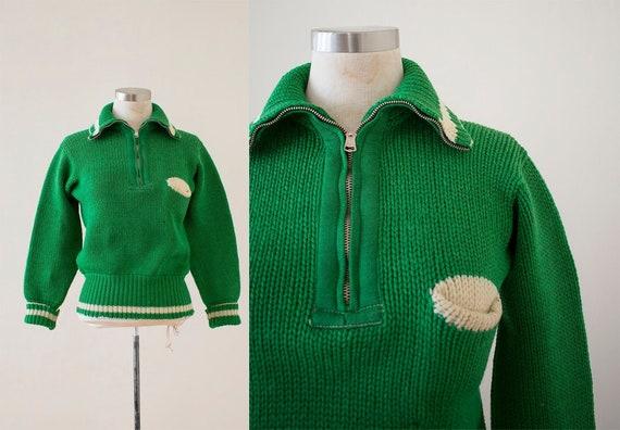Vintage 1940s Knit Sweater / Heavyweight Green Swe