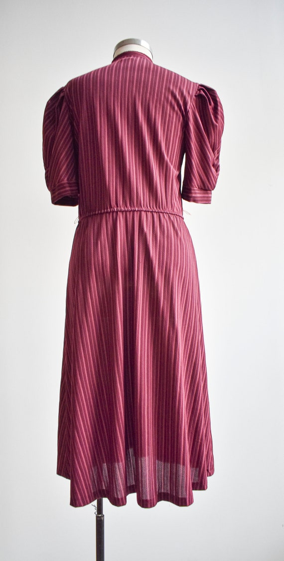 70s Maroon Striped Shirt Dress - image 8