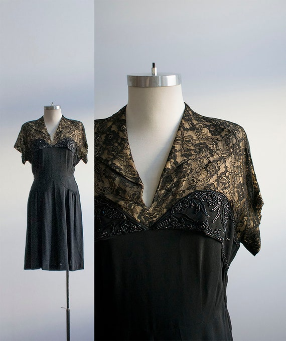 Vintage 1940s Black Cocktail Dress / Black Lace Co