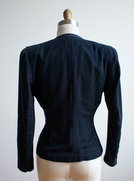 Vintage 1940s Suit Jacket / Navy Blue Womens Jack… - image 10