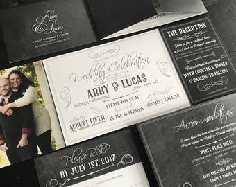 chalkboard custom fold wedding invitation suite custom fold invitation rsvp postcard custom wedding announcements custom monogram
