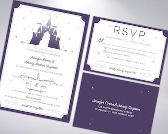 Fairytale Inspired Wedding Invitation Suite Castle Etsy