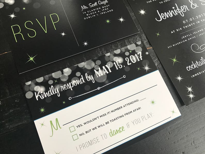 black and silver Sparkle Invitation Suite; custom invitation and matching postcard RSVP New Years wedding New Year/'s eve