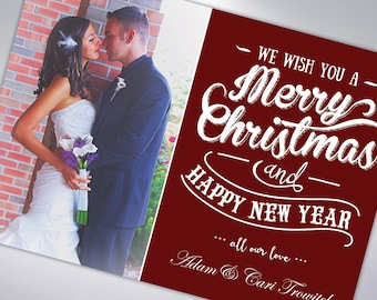 MERRY CHRISTMAS and Happy New Year | Custom Holiday Cards & Envelopes | Postcard Option Available | Newlywed Christmas Card | Happy Holidays