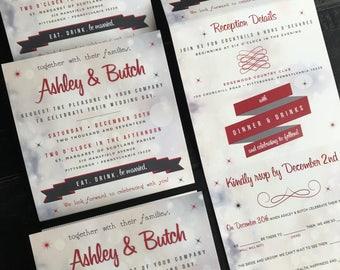 Accordion Fold Invitation Suite | Perforated Mad Lib RSVP Postcard | Folding Invitation |  Sparkle Wedding Announcement | Wedding Invites