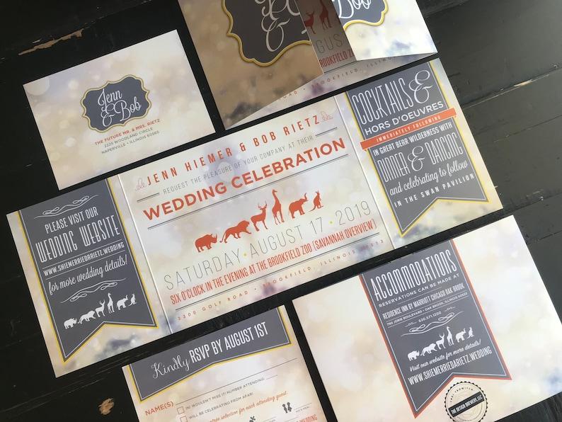 zoo themed custom fold wedding invitation suite zoo  etsy