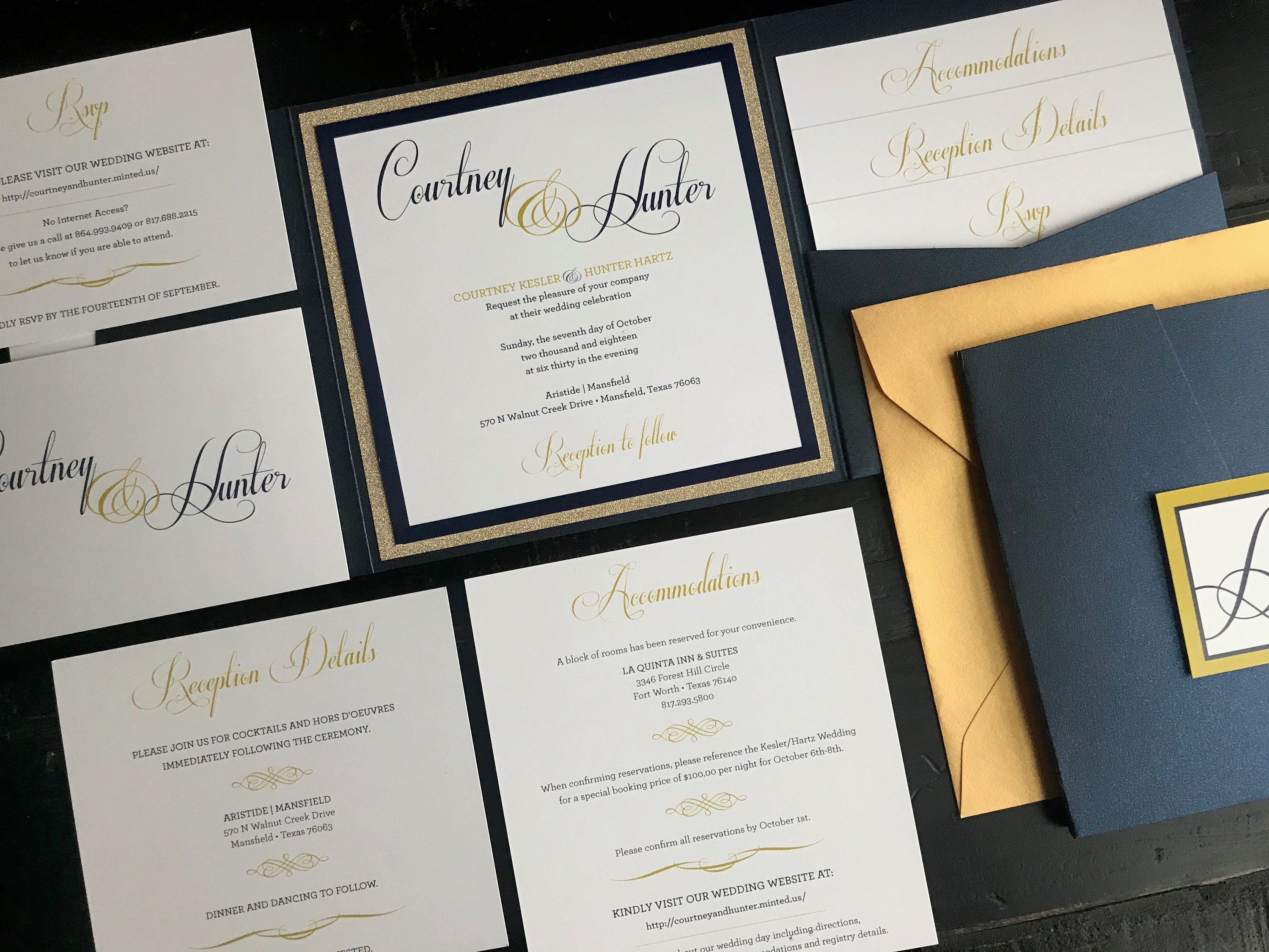 Personalized Wedding Invitations.Metallic Navy Glitter Gold Pocket Wedding Invitation Suites Personalized Wedding Announcements Invitation Suite Script Gold Blue