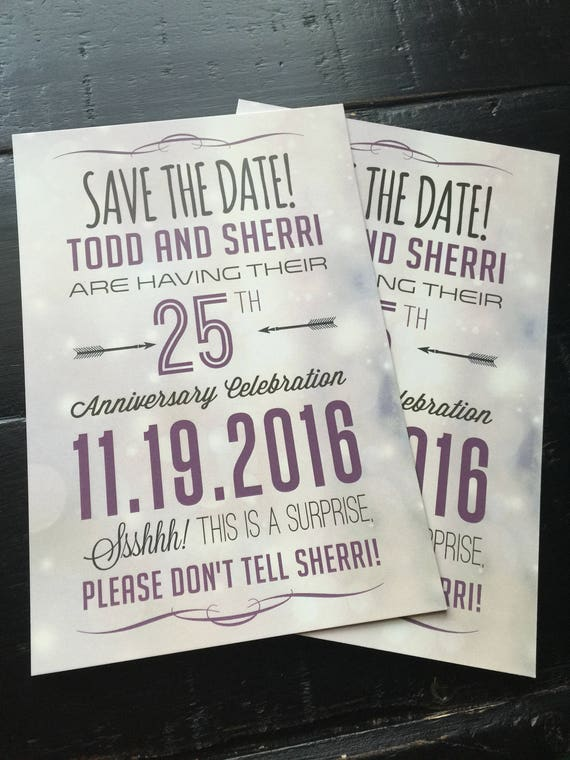 anniversary celebration save the dates custom announcements etsy