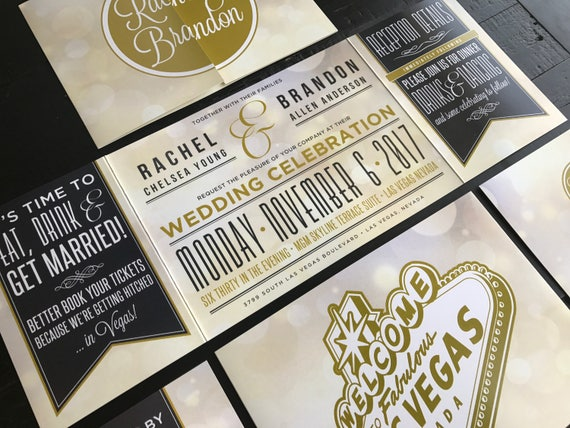 Las Vegas Wedding Invitation Wording: Las Vegas Custom Fold Wedding Invitations Married In Vegas