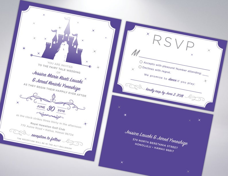 Pearl Envelopes Included Castle Princess Fairytale Inspired Wedding Invitation Suite Wedding Announcement Fairytale Personalized