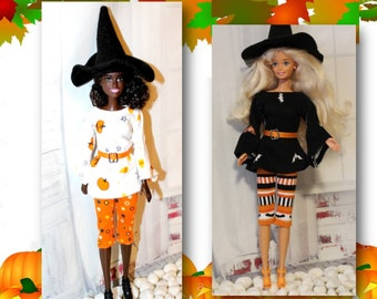 Doll Clothing. 3 Pc. Witch Set; Shirt, Pants &  Witch Hat for Barbie sized dolls. Fashion doll clothes only, Barbies and Shoes not included