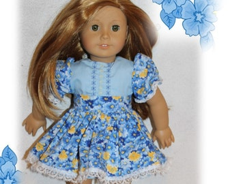 """American Girl Doll Not Included. 18"""" Doll Clothes. Easter Dress with Buttons & Floral Apron. Kids Toy doll clothes. Kids Toy. Girl/Boy Gift"""