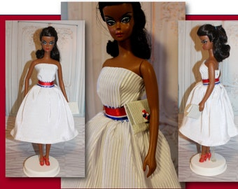 """1st in our """"Freedom Rings"""" Collection by Muriel. 4th of July Dress with Snaps, Purse & Red /White / Blue Belt. Silkstone Barbie not Included"""