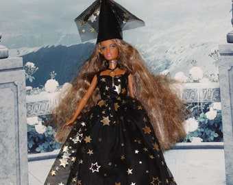 """Celestial Princess Gold Star Gown & Hat. Lined Gown with Snaps fits Barbie sized dolls. Witch Fashion Doll Clothes for 11.5"""" to 12"""" dolls."""