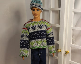 Boy Doll Clothes. Jeans  Sweater & Hat.  Male Fashion Doll Clothes (Ken doll not included) Handmade Toy, Girl Gift, Boy Present.
