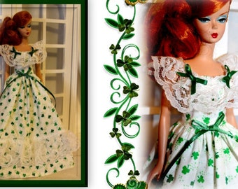 OOAK DOLL CLOTHES HANDMADE FOR ST PATRICKS DAY PRINT JUMPER DRESS CLOTHES