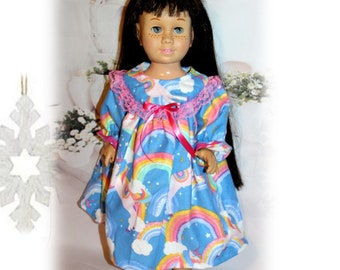 """Doll Clothing, Chatty Cathy Size Unicorns & Rainbows Nightgown for 20"""" Dolls. Clothes only, doll not included. Vintage Toy doll clothes."""