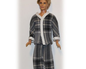 "Soft Gray Fleece  Pajamas. Clothes with Snaps. Pajama Tops and Bottoms for 1:6 scale Male Fashion Dolls the size of 12"" tall Ken dolls."