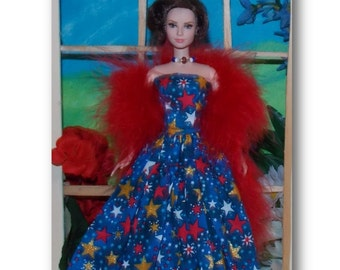 "4th of July ""Freedom""  Gown, Feather Boa and Necklace.   Handmade Fashion Doll Clothes"