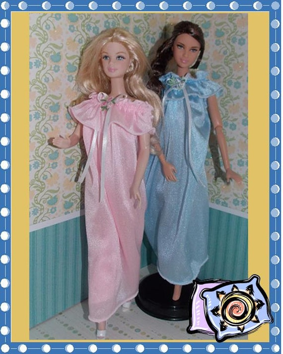 """11 1//2/""""  Doll Clothing Mint Green Robe and White Nightgown set"""