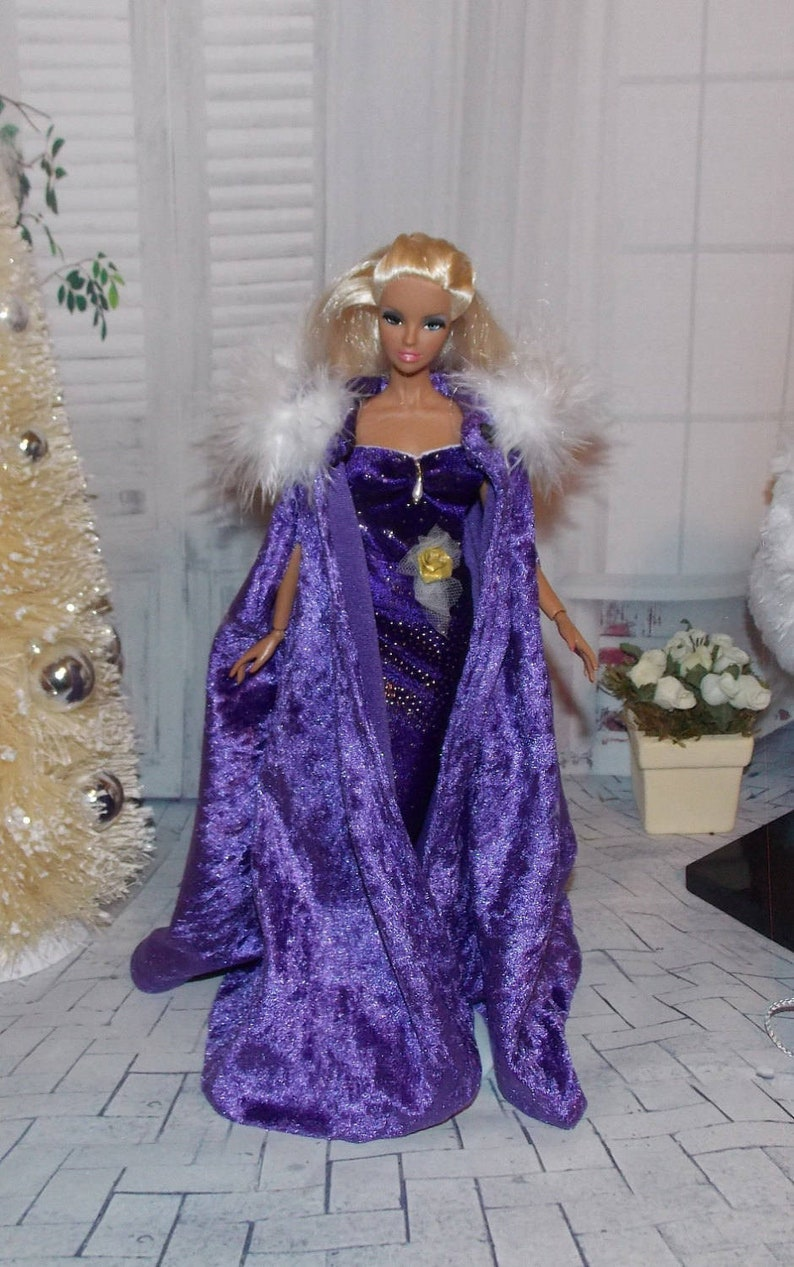 Purple Ball Gown with Feather Boa Made to Fit Barbie Doll