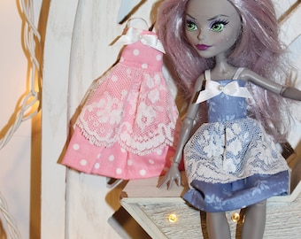 Handmade Dress for Monster High Size Dolls.  Handmade Clothes fit slimline dolls the size of the Original  Monster High.Girl Gift