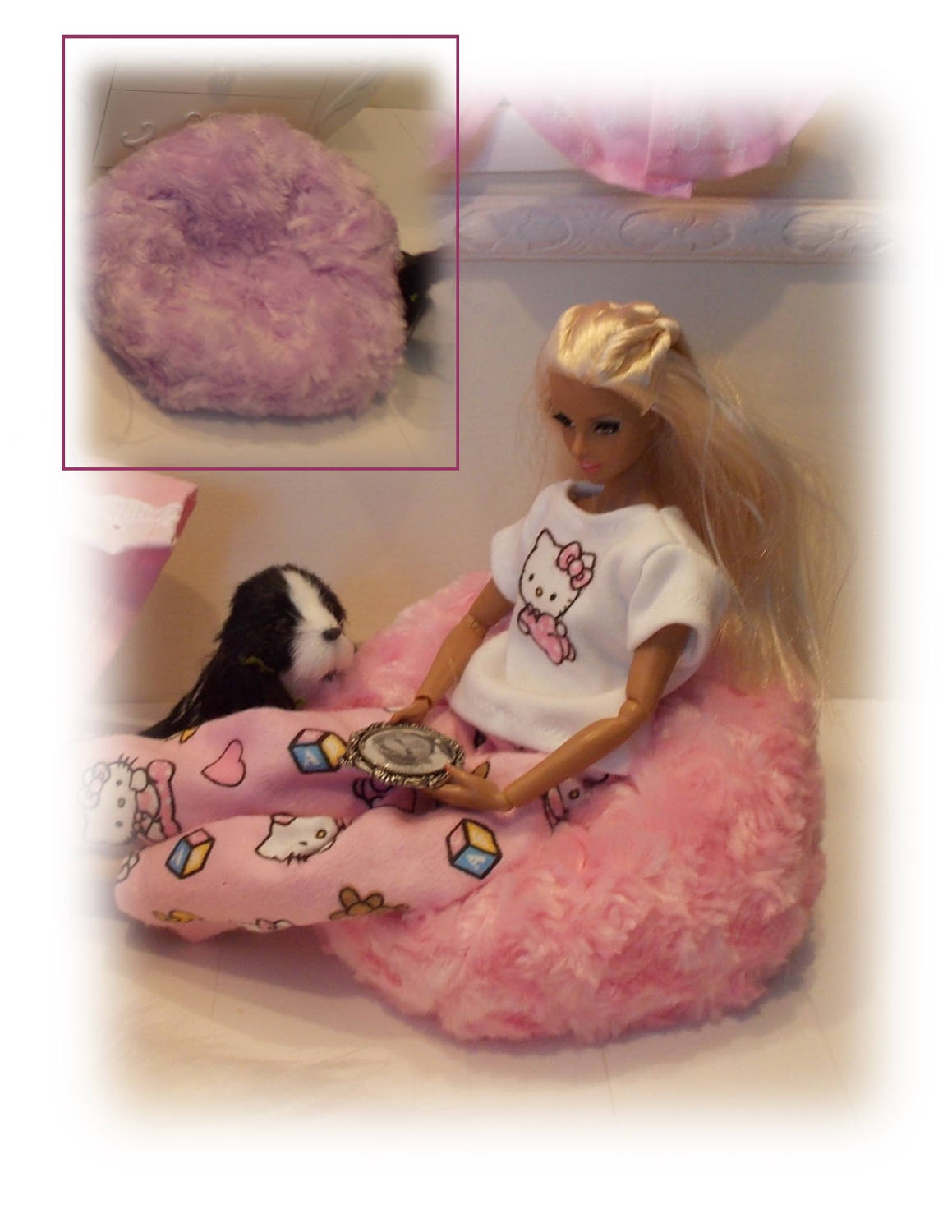Soft And Furry Purple Or Pink Bean Bag Chair For Fashion