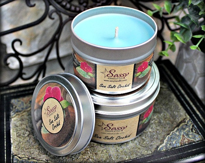SEA SALT ORCHID | Candle Tin (4 or 8 oz) |  Phthalate Free | Sassy Kandle Co.