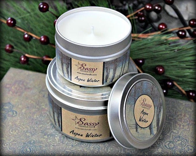 ASPEN WINTER | 4 oz Candle Tin | 8 oz Candle Tin | Soy Blend Candle | Phthalate Free | Sassy Kandle Co.