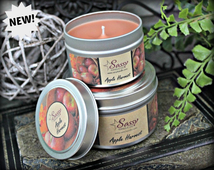 APPLE HARVEST | 4 oz Candle Tin | 8 oz Candle Tin | Soy Blend Candle | Phthalate Free | Sassy Kandle Co.