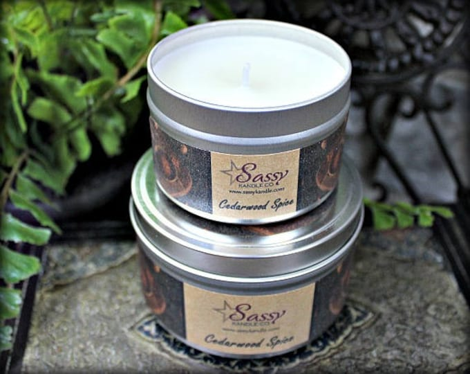CEDARWOOD SPICE |  4 oz Candle Tin | 8 oz Candle Tin | Phthalate Free | Sassy Kandle Co.
